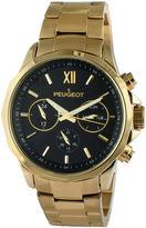 Peugeot Men's Gold Tone And Black Multi Function Bracelet Watch 1046G