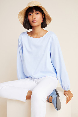 Maeve Dara Puff-Sleeved Poplin Blouse By in Blue Size M