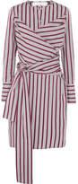 Victoria, Victoria Beckham Tie-front Striped Cotton Shirt Dress