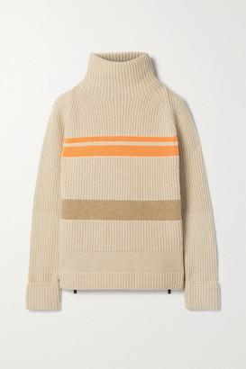 Bogner Adelia Striped Ribbed Wool-blend Turtleneck Sweater - Beige