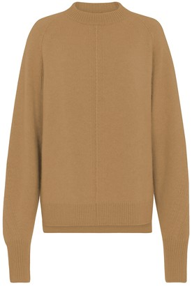 Amanda Wakeley Cable Detailed Crew Cashmere Camel