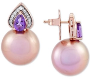Honora Cultured Pink Ming Pearl (12mm), Amethyst (5/8 ct. t.w.) & Diamond (1/10 ct. t.w.) Stud Earrings in 14k Rose Gold