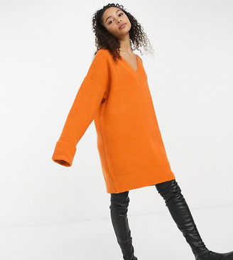Collusion slouchy v neck sweater dress in orange