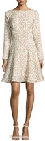 Lela Rose Long-Sleeve Ornamental Fit-&-Flare Dress, Tan/Ivory