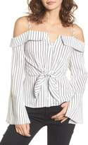 Lush Stripe Tie Waist Off the Shoulder Shirt