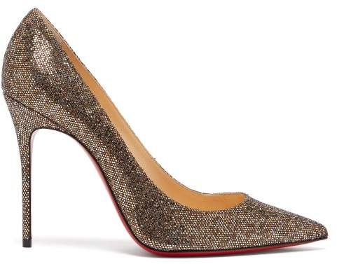 Christian Louboutin Decollete 100 Metallic Pumps - Womens - Gold