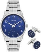 Citizen Men's Stainless Steel Bracelet Watch & Cufflink Set