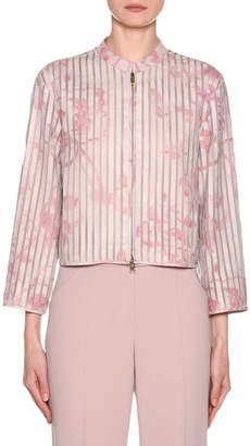 Giorgio Armani Abstract Floral Leather Silk Organza Jacket
