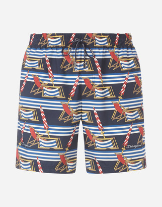 Dolce & Gabbana Medium Swimming Trunks With Sunlounger Print