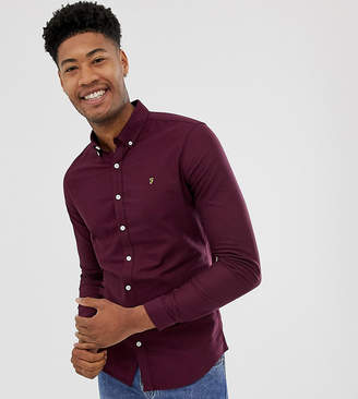 Farah skinny fit button down oxford shirt in burgundy