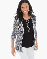 Chico's Bi-Color Fringe Textured Cardigan