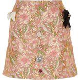 River Island Womens Pink floral brocade embellished mini skirt