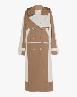 Caalo Camel / White Convertible Hooded Trench