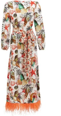 Mary Mare - Firenze Shell-print Linen Midi Dress - White Print