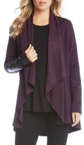 Karen Kane Women's Faux Leather Patch Fleece Knit Jacket