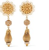 Dolce & Gabbana Gold-tone Swarovski Crystal Clip Earrings