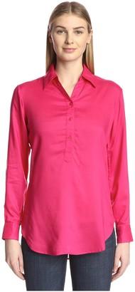 James & Erin Women's Solid Long Sleeve Placket Shirt