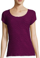 Liz Claiborne Short-Sleeve Textured Knit Top