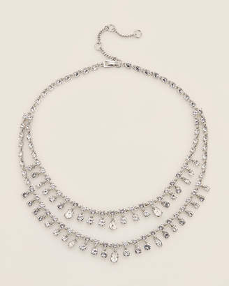 Givenchy Rhodium-Tone Crystal Layered Necklace