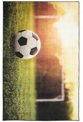 Zoomie Kids Engler Soccer Goal Beige/Green Area Rug Rug Size: Rectangle 5' x 8'