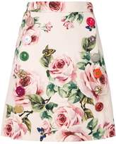 Dolce & Gabbana rose print A-line skirt
