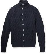 S.N.S. Herning Stark Textured-knit Wool Cardigan - Navy
