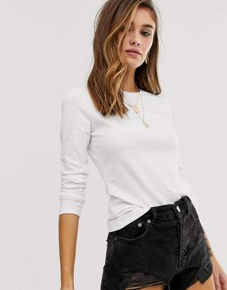 Asos Design DESIGN ultimate organic cotton long sleeve t-shirt with crew neck in white