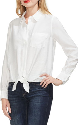 Vince Camuto Solid Button Front Tie Hem Satin Shirt