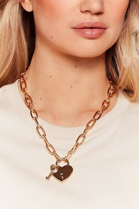Nasty Gal Womens Keep Your Heart Locked Away Chain Necklace - Gold