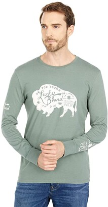 Lucky Brand Bison Long Sleeve Tee (Laurel Wreath) Men's Clothing