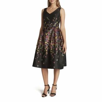Tahari ASL Women's Sleeveless V-Neck Floral Print Fit and Flare Midi Dress