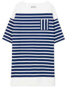 Petit Bateau Womens Stripe Sailor Dress - Marshmallow/Navy / Size 1 / SMALL