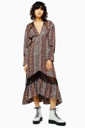 Topshop Womens Snake Print Lace Trim Smock Dress - Multi