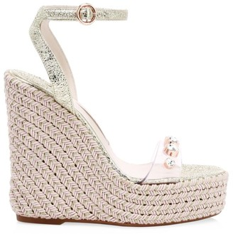 Sophia Webster Dina Embellished Vinyl & Metallic Leather Platform Espadrille Wedges