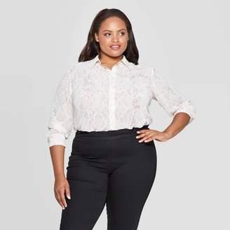 Ava & Viv Women's Plus Size Snake Print Long Sleeve Collared Button-Up Blouse - Ava & VivTM Cream