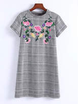 Flower Embroidery Plaid Dress
