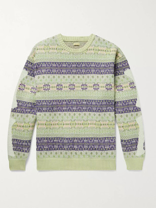 KAPITAL Intarsia Fair Isle Wool-Blend Sweater - Men - Purple