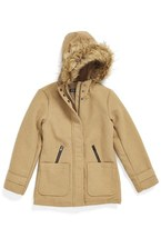 Steve Madden Girl's Hooded Coat With Faux Fur Trim