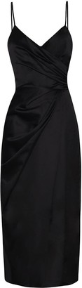 True Decadence Black Satin Wrap Front Cami Midi Dress