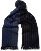 Begg & Co Kishorn Fringed Pinstriped Colour-block Cashmere Scarf