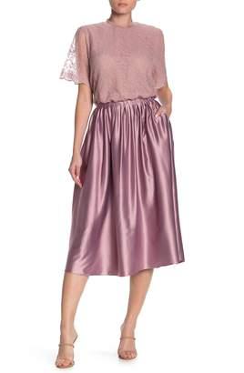 Everleigh Satin Pull-On Pleated A-Line Midi Skirt (Regular & Petite)