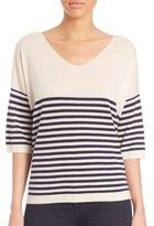 ATM Anthony Thomas Melillo Wide V-Neck Stripe Sweater