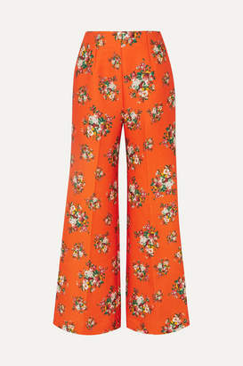 Emilia Wickstead Hullinie Floral-print Cloqué Wide-leg Pants - Orange