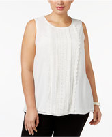 Charter Club Plus Size Lace-Front Tank, Only at Macy's