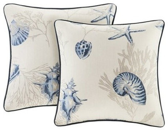Madison Home USA Cotton Printed Square Pillow Pair With Solid Reverse, Blue