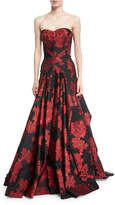 Zac Posen Strapless Floral-Printed Evening Gown w/ Full Skirt