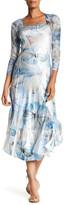 Komarov Square Neck 3/4 Length Sleeve Flared Dress