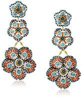 Miguel Ases Blue Quartz Three-Flower Drop Earrings