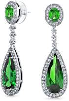 Bling Jewelry Pave Teardrop CZ Bridal Chandelier Earrings Rhodium Plated