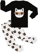 BOOPH Girls Pajamas 2 Piece Cat Long Sleeve Pajama Set 100% Cotton sleepwear 2T-7T (4T, cat)
